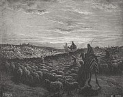Dusk Drawings Framed Prints - Abraham Journeying Into the Land of Canaan Framed Print by Gustave Dore