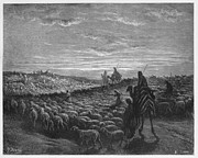 Prophet Drawings Posters - Abraham Journeying into the Land of Canaan  Poster by Oprea Nicolae