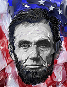 Slavery Digital Art Metal Prints - ABRAHAM LINCOLN - 16th U S PRESIDENT Metal Print by Daniel Hagerman