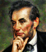 Zeana Romanovna Mixed Media Prints - Abraham Lincoln - Abstract Realism Print by Zeana Romanovna