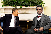 Barack Obama Prints - Abraham Lincoln and Barack Obama Print by Jorge Fernandez