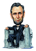 Caricatures Paintings - Abraham Lincoln by Art