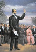Usa Drawings Framed Prints - Abraham lincoln Delivering the Gettysburg Address Framed Print by American School