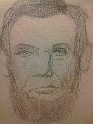 President Lincoln Drawings - Abraham Lincoln doodle by Lee Farley