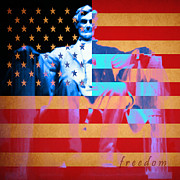 4th July Posters - Abraham Lincoln - Freedom Poster by Wingsdomain Art and Photography