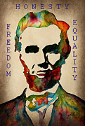 Abraham Digital Art Prints - Abraham Lincoln leader qualities Print by Georgeta  Blanaru