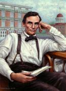 Blue Green Water Art - Abraham Lincoln of Springfield Bicentennial Portrait by Jane Bucci