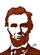 Abraham Lincoln Original Coffee Painting Print by Georgeta  Blanaru
