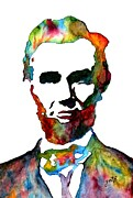 Abraham Lincoln Prints - Abraham Lincoln original watercolor  Print by Georgeta  Blanaru