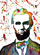 President Lincoln Paintings - Abraham Lincoln original watercolor painting by Georgeta Blanaru
