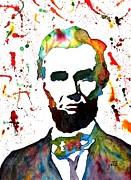 Abraham Lincoln Original Watercolor Painting Print by Georgeta Blanaru