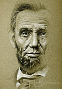 Honest Abe Drawings - Abraham Lincoln pencil Portrait by Victor Powell