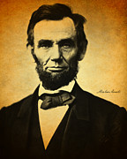 Signature Mixed Media Prints - Abraham Lincoln Portrait and Signature Print by Design Turnpike