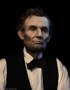 Abraham Digital Art Prints - Abraham Lincoln Portrait Print by Ray Downing