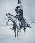 Leaders Drawings Prints - Abraham Lincoln Riding his Judicial Circuit Print by Louis Bonhajo