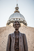 Capitol Building Prints - Abraham Lincoln Statue at Illinois State Capitol Print by Paul Velgos