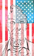 Abraham Lincoln Vintage American Flag Print by Dan Sproul