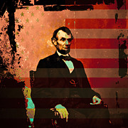 4th July Digital Art Posters - Abraham Lincoln Poster by Wingsdomain Art and Photography