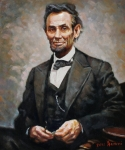 Lincoln Portrait Framed Prints - Abraham Lincoln Framed Print by Ylli Haruni