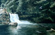 Smoky Mountains Paintings - Abrams Falls by Penny Johnson