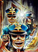 Police Painting Metal Prints - Abre La Puerta Metal Print by Heather Calderon