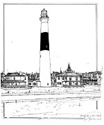Featured Drawings Posters - Absecon Lighthouse Poster by Ira Shander