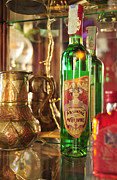 Bottle Green Prints - Absinthe bottle in bar Print by Matthias Hauser