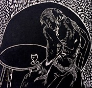 Lino Cutting Reliefs Framed Prints - Absinthe Drinker after Picasso Framed Print by Caroline Street
