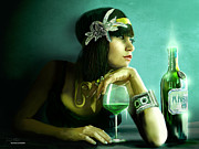 Glass Bottle Digital Art Prints - Absinthe Print by Jason Longstreet