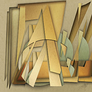 Cubist Framed Prints - Abstract 112213 Framed Print by Daniel Mowry