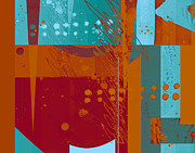 Blue And Orange Posters - Abstract 203 Poster by Ann Powell