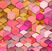 Candy Digital Art - Abstract 3d Cube Shape Backdrop In Pink Yellow Orange  by John Johnson