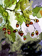 Oak Mixed Media Prints - Abstract Acorns and Oak Leaves Print by Ginette Callaway