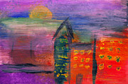 Childlike Metal Prints - Abstract - Acrylic - Lost in the city Metal Print by Mike Savad