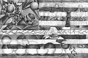 Chess Queen Drawings Prints - Abstract American Flag Print by J M L Patty