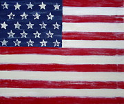 Republic Mixed Media Posters - Abstract American Flag Painting Poster by Holly Anderson