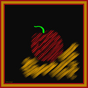 Symmetrical Design Posters - Abstract Apple Border Poster by Barbara Snyder
