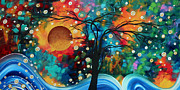 Whimsy Framed Prints - Abstract Art Bold Colorful Landscape Painting HALO OF FIRE by MADART Framed Print by Megan Duncanson