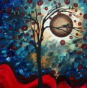 Abstract Cat Prints - Abstract Art Contemporary Cat Bird Circle of Life Collection CAT PERCH by MADART Print by Megan Duncanson