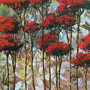 Rust Paintings - Abstract Art Decorative Landscape Original Painting WHISPERING TREES II by MADART Studios by Megan Duncanson