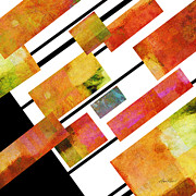 White Red And Yellow Prints - abstract art Homage to Mondrian Square Print by Ann Powell