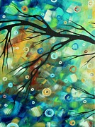 Lime Paintings - Abstract Art Landscape Circles Painting A SECRET PLACE 2 by MADART by Megan Duncanson
