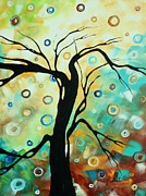 Lime Paintings - Abstract Art Landscape Circles Painting A SECRET PLACE 3 by MADART by Megan Duncanson