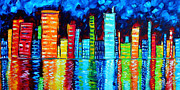 Aqua Blue Posters - Abstract Art Landscape City Cityscape Textured Painting CITY NIGHTS II by MADART Poster by Megan Duncanson