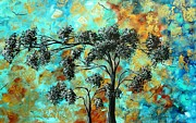 Rust Paintings - Abstract Art Landscape Metallic Gold Textured Painting SPRING BLOOMS II by MADART by Megan Duncanson