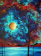 Aqua Posters - Abstract Art Landscape Tree Blossoms Sea Moon Painting VISIONARY DELIGHT by MADART Poster by Megan Duncanson