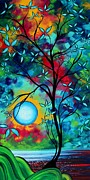 Dark Blue Green Posters - Abstract Art Landscape Tree Blossoms Sea Painting UNDER THE LIGHT OF THE MOON I  by MADART Poster by Megan Duncanson