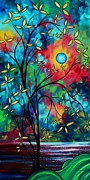 Dark Blue Green Posters - Abstract Art Landscape Tree Blossoms Sea Painting UNDER THE LIGHT OF THE MOON II by MADART Poster by Megan Duncanson