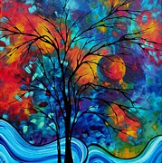 Purple Artwork Posters - Abstract Art Landscape Tree Bold Colorful Painting A SECRET PLACE by MADART Poster by Megan Duncanson