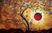 Crimson Prints - Abstract Art Landscape Tree Metallic Gold Texture Painting FREE AS THE WIND by MADART Print by Megan Duncanson